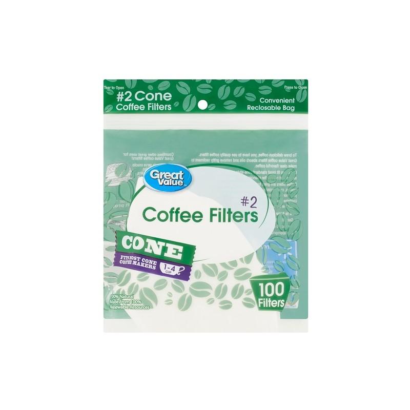 Filtro de Café Great Value N°2 (Cono) - 100 UND